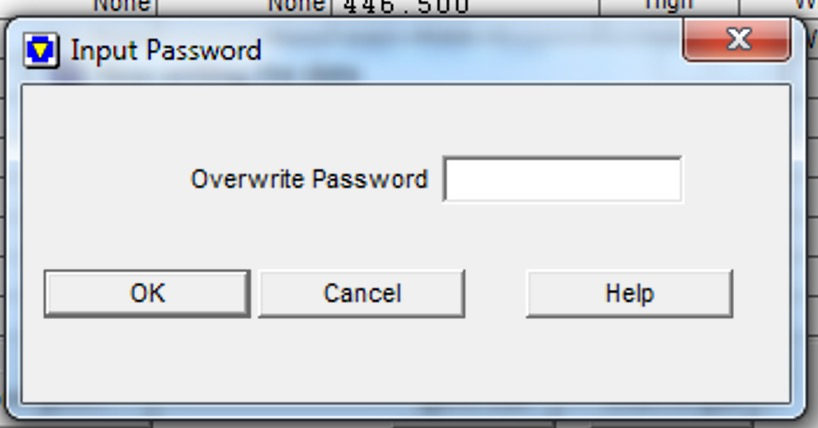image of overwrite password entry field